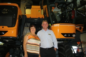 Louise Fraser, Pellenc Australia managing director and Frank O'Riley, Pellenc Australia technical director, with their Optimum 890 at last night's launch of the cutting-edge technology.