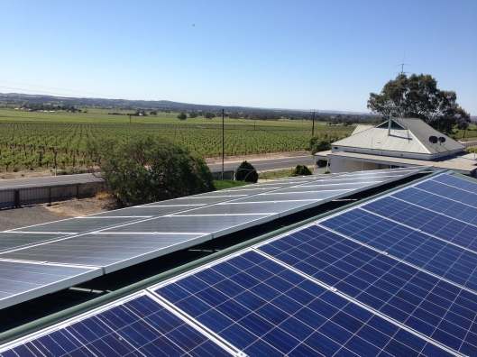 Keeping up with technology: Leo Pech's 10kW system which the Barossa grower had installed in February.