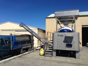 Hop to it: Frogmore Creek's newly-installed Europress S120, showing off its custom hopper for loading grapes.