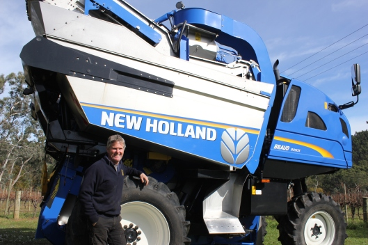 Mr Machinery: Best's Wines managing director Ben Thomson with a Braud 9090 XA with de-stemmer. It is one of seven Braud's in his contract harvesting fleet – with Australia's first Opti-Grape on its way from France to keep his business at the cutting edge.