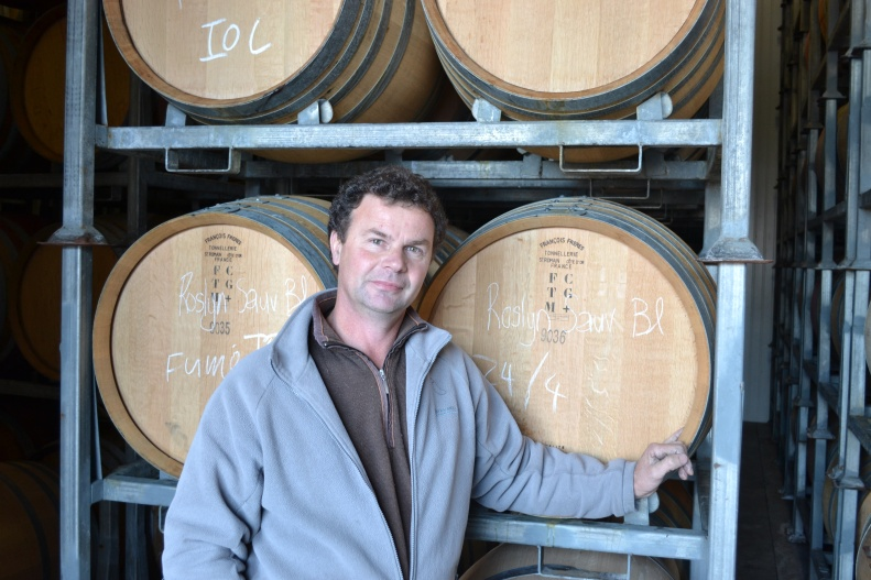 The Frog in the creek: Frogmore Creek's chief winemaker Alain Rousseau pictured in the winery's barrel room.