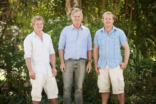 1.Three amigos: A rose between two roses. Wairau River Wines founder Phil Rose, centre, flanked by sons Sam (left) the winemaker and Hamish, who manages the vineyards.