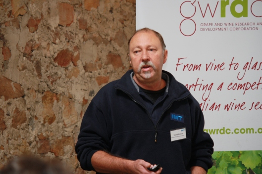Gift of the gab: Irrigation Management Training's Noel Johnston met with growers from the Adelaide Hills, Langhorne Creek and McLaren Vale to discuss the importance of irrigation scheduling.