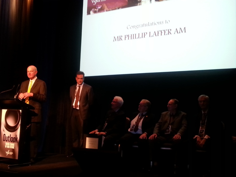 Philip Laffer receiving the award at last night's presentation dinner.