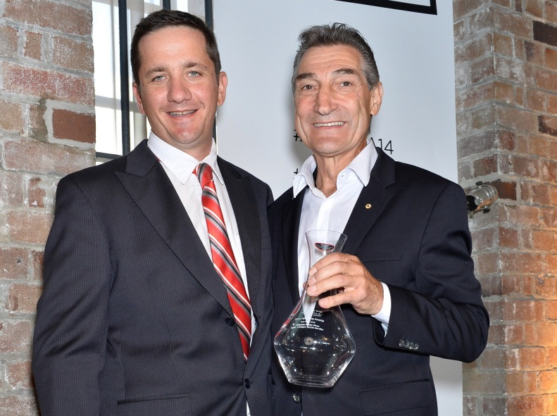 Bill Calabria (right) receiving one of many awards at the NSW Wine Awards.