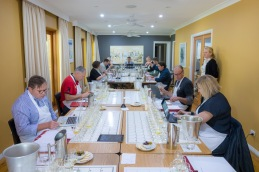 Judges tasting with food in NSW's Blue Mountains.