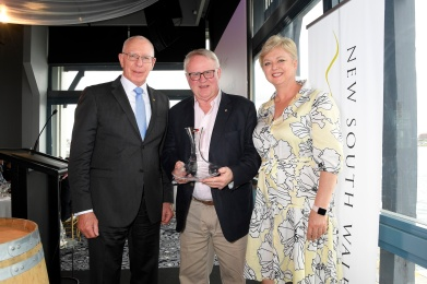 NSW Governor's Trophy for Best in Show - Tyrrell's 2005 Vat 1 Semillon, Hunter Valley. Governor Genenal Hurley, Bruce Tyrrell, Gina Demetrou. 2017 NSW Wine Awards, Pier One - Sydney Harbour 27.10.2017. Photos by Fiora Sacco copyright reserved 2017