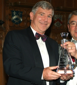 Wayne receives Trophy at IWSC Awards 2005 from Wolf Blass